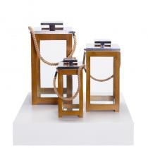 FÆK | Deco Lantern set 3pcs wood - lantaarn set hout - decoratie - faek - verhuur - evenementen - feest - rental - events - artificieel - artificial